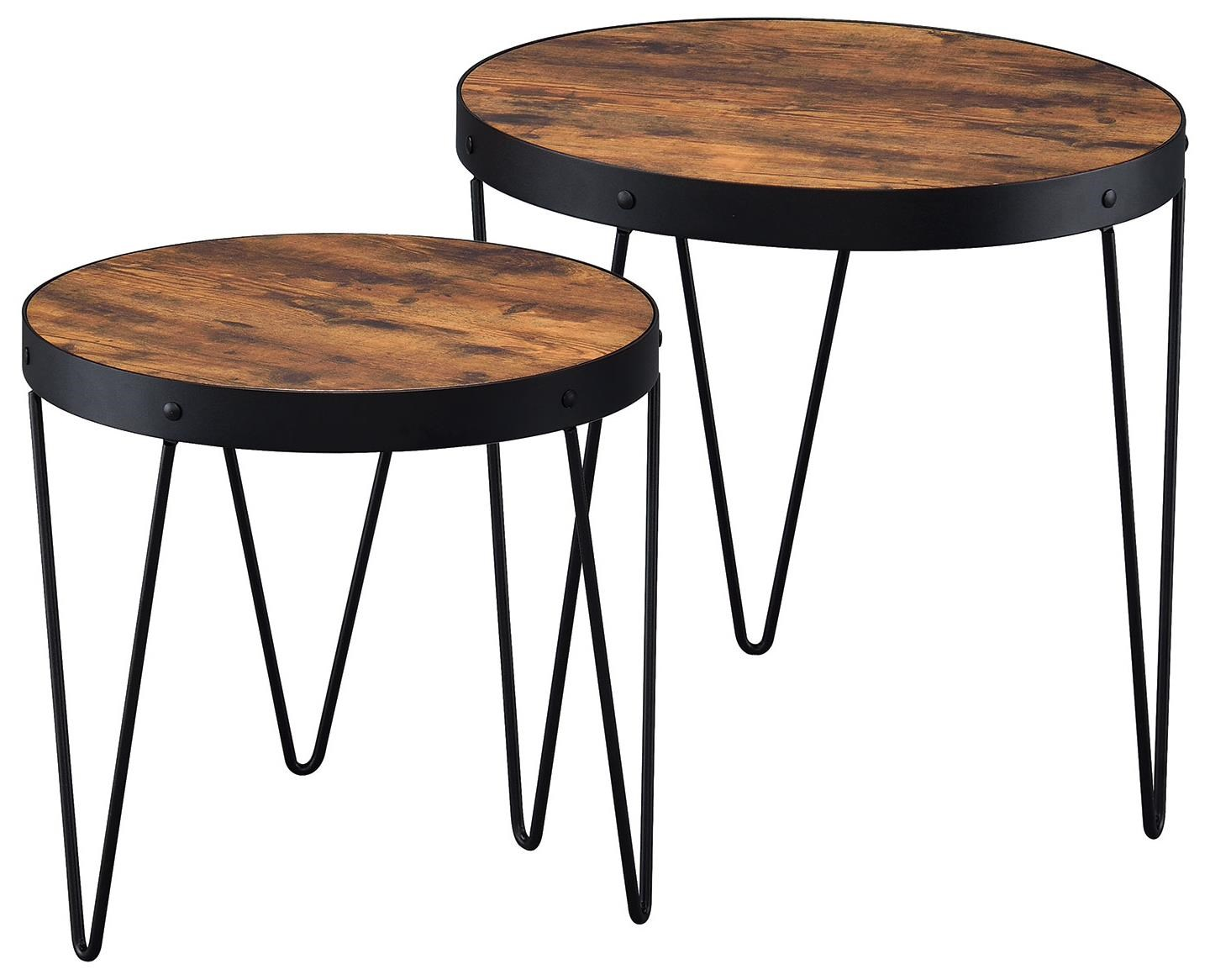 Coaster Nesting Tables 2 Piece Nesting Table Set With Hairpin Legs   Prime  Brothers Furniture   End Tables