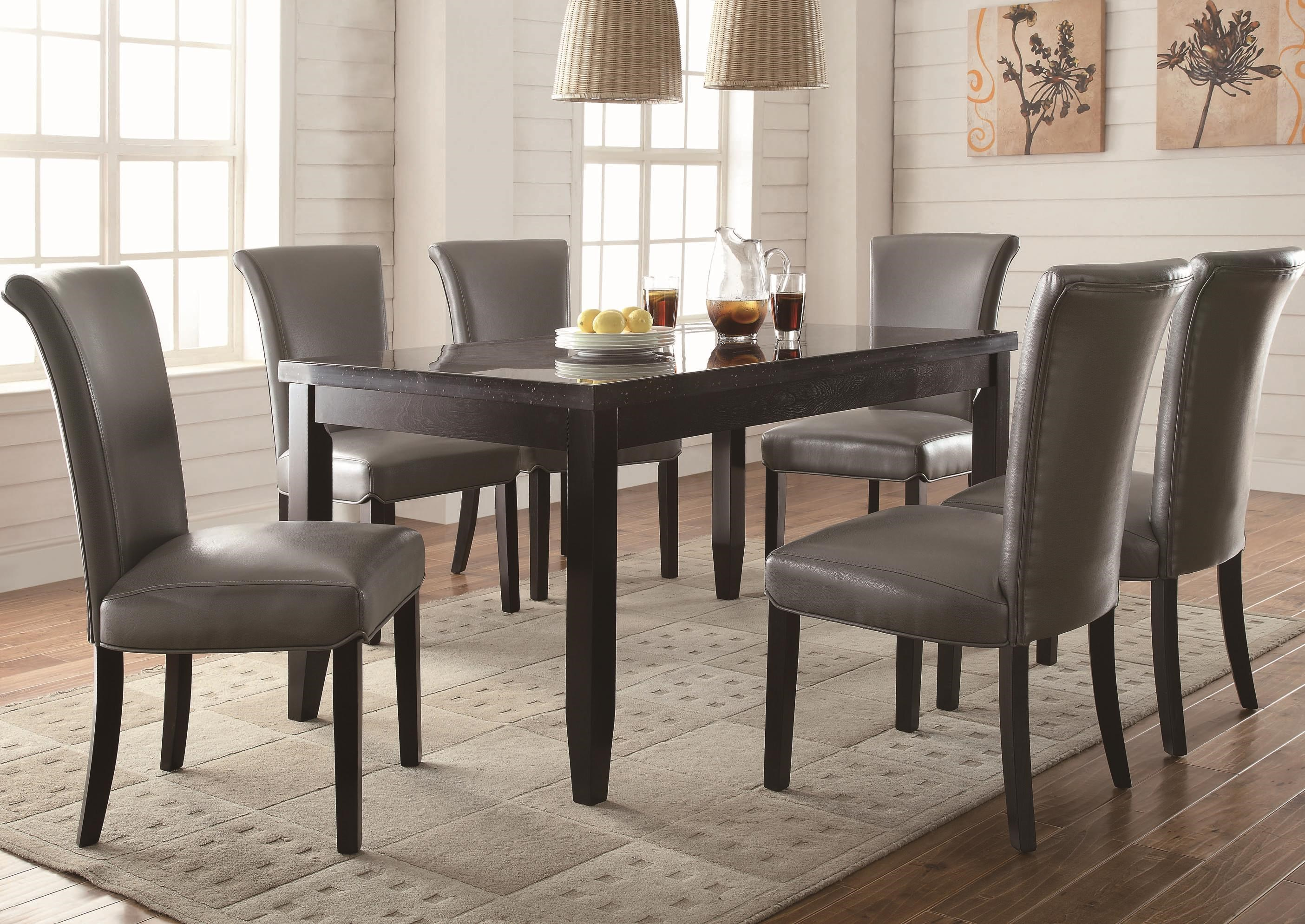coaster newbridge 7 piece dining table chair set value city rh valuecitynj com  coaster retro round dining kitchen table in chrome / white