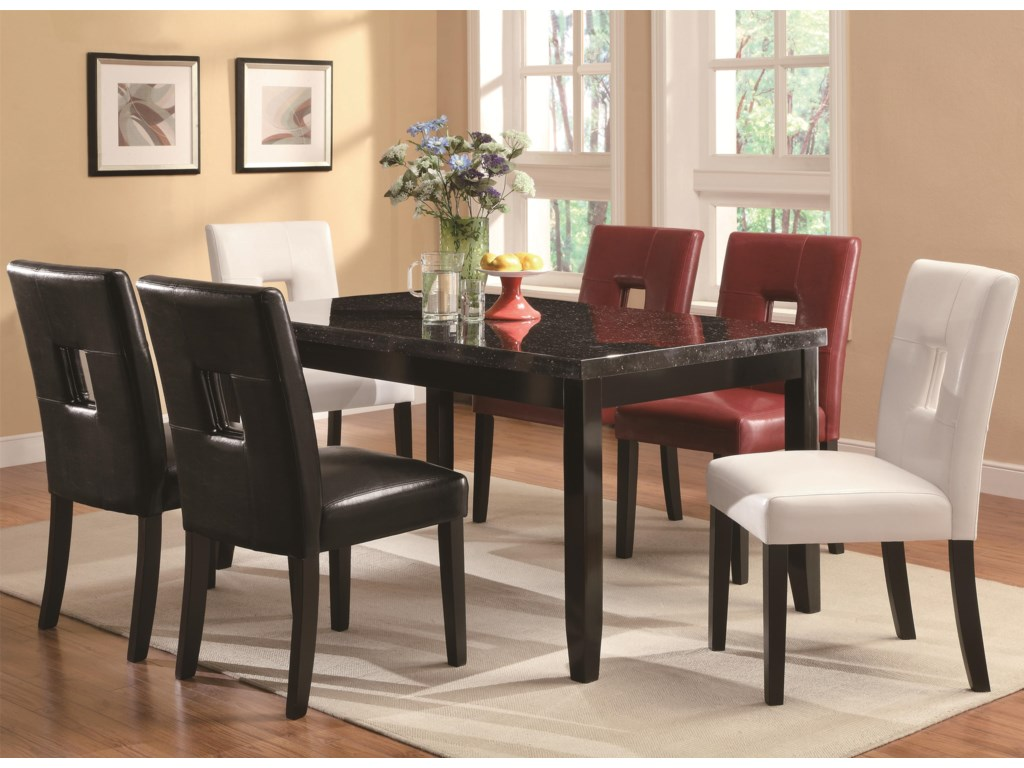 Shown with Table, Black and Red Chairs