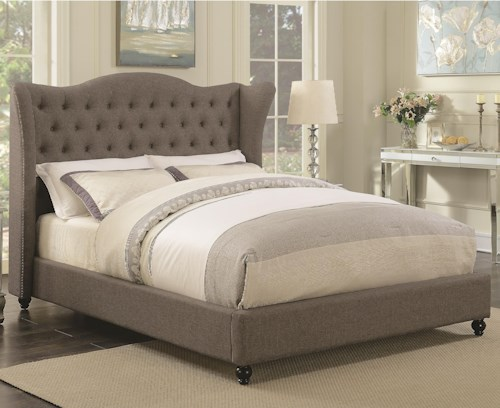 Coaster Newburgh California King Upholstered Bed with Button Tufted Headboard