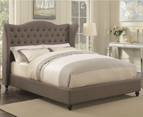 Coaster Newburgh Queen Upholstered Bed with Button Tufted Headboard