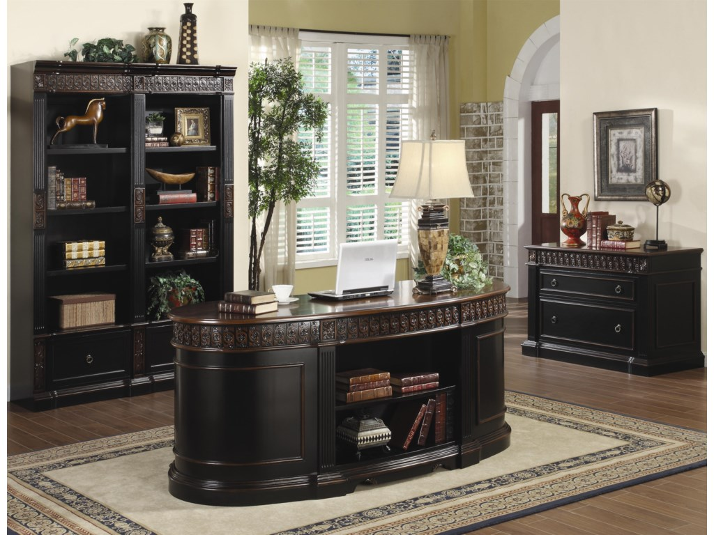 Shown in Room Setting with Bookcase and File Cabinet