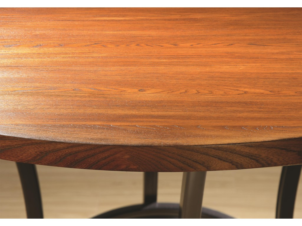 Wire-Brushed Wood and Veneer Table Top in an Oak Finish