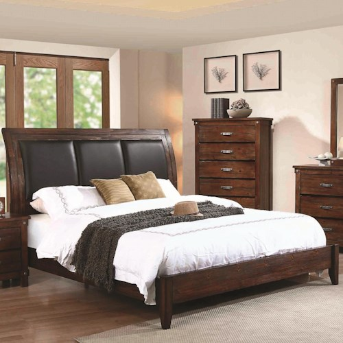 Coaster Noble King Panel Bed with Upholstered Headboard