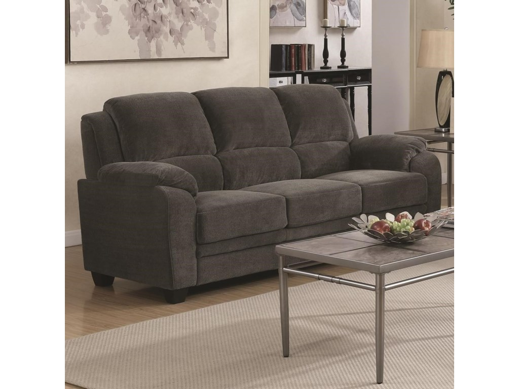 Northend Casual Sofa with Velvet-Like Fabric by Coaster at Rooms for Less