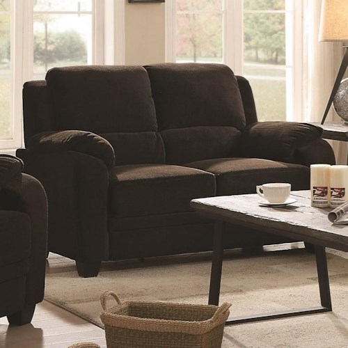 Coaster Northend Casual Loveseat with Velvet-Like Fabric