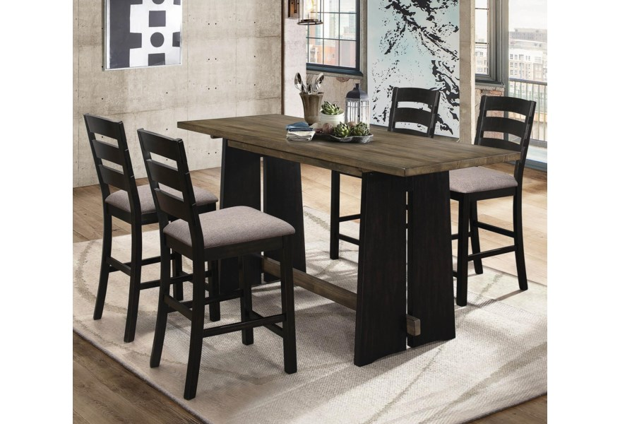 Oakley 5 Piece Solid Wood Counter Height Table Set