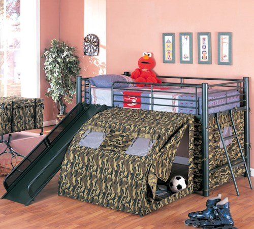 Oates Collection Lofted Bunk Bed With Slide And Tent