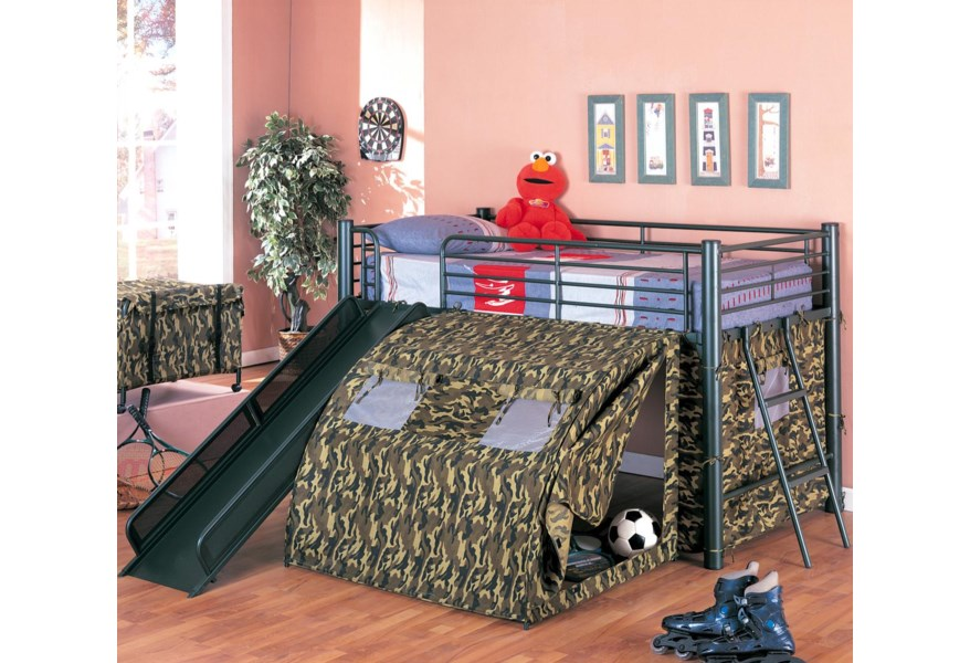 Coaster Oates 7470 Lofted Bed With Slide And Tent Northeast Factory Direct Loft Beds