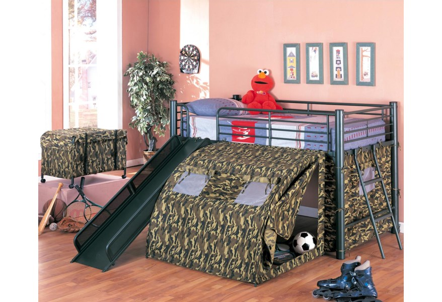Coaster Oates 7470 Lofted Bed With Slide And Tent Dunk Bright