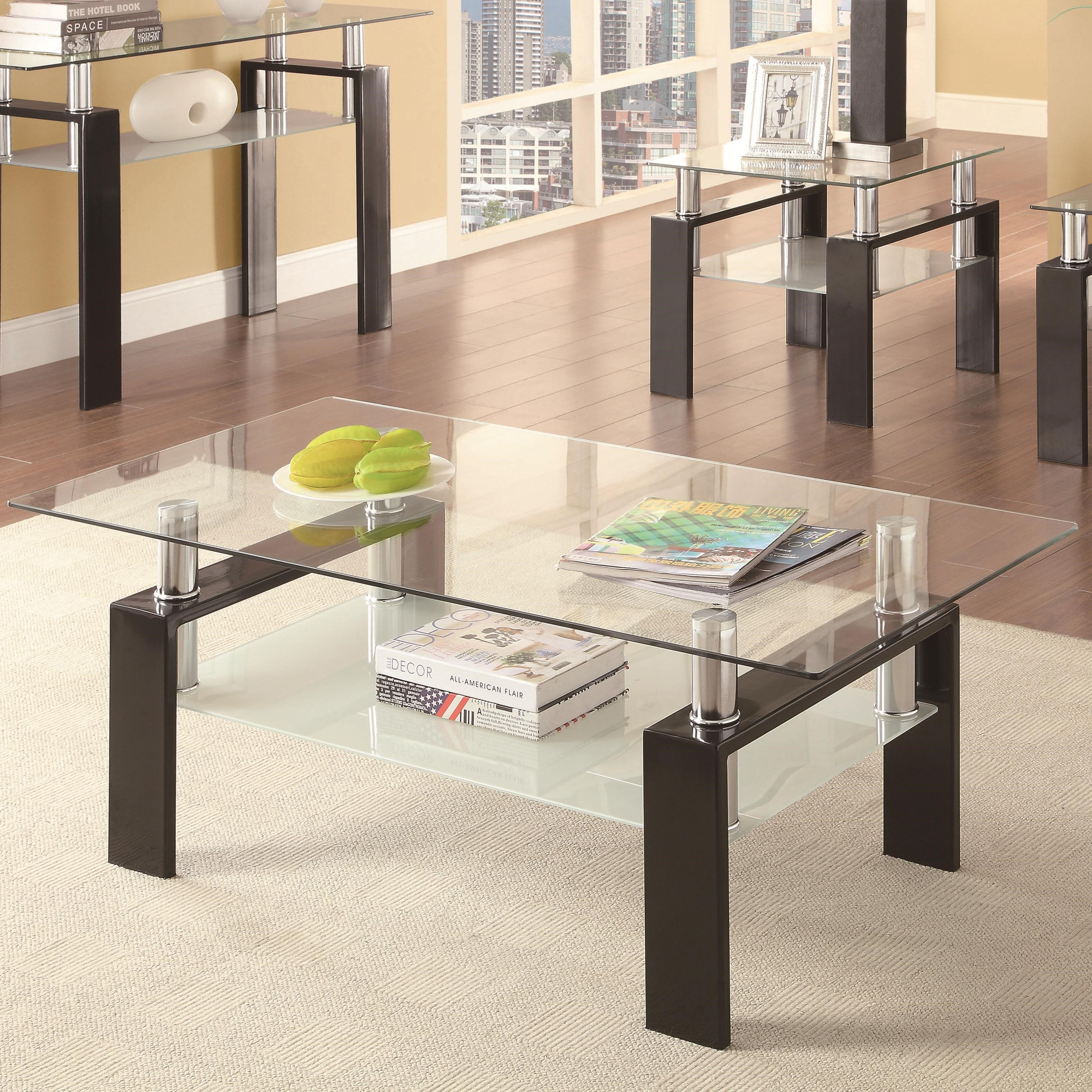 Coaster Occasional Group 702280 Tempered Glass Coffee Table Rife's Home  Furniture Cocktail/Coffee Tables