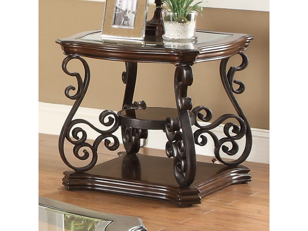 the best attitude 35218 e523c Occasional Group End Table with Tempered Glass Top & Ornate Metal  Scrollwork by Coaster at Northeast Factory Direct
