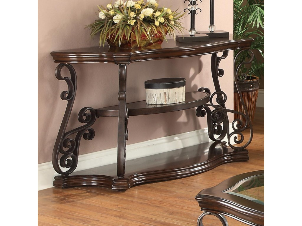 Occasional Group Sofa Table With Tempered Gl Top Ornate Metal Scrollwork By Coaster At Value City Furniture