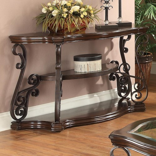 Coaster Occasional Group Sofa Table with Tempered Glass Top & Ornate Metal Scrollwork