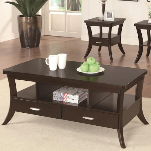 Coaster Occasional Group Coffee Table with Flared Legs and 2 Drawers