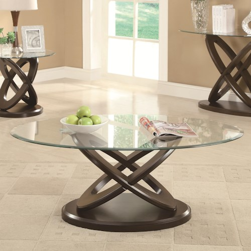Coaster Occasional Group Glass Top Intersecting Ring Coffee Table