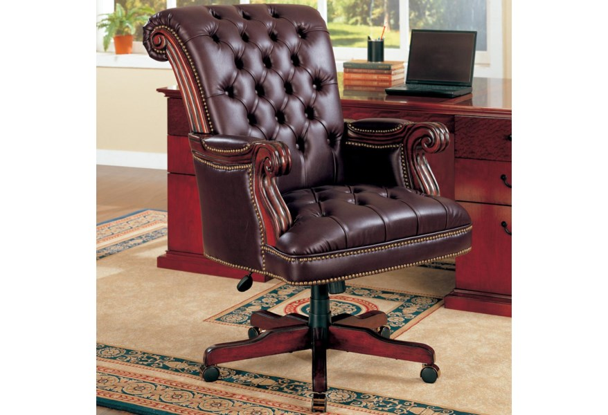 Coaster Office Chairs Traditional Leather Executive Chair A1 Furniture Mattress Executive Desk Chairs