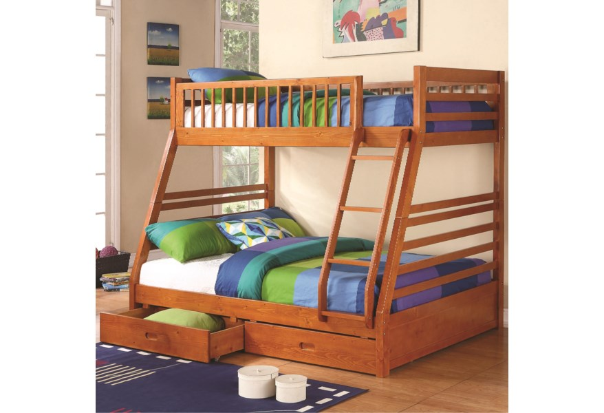 Coaster Ogletown Twin Over Full Bunk Bed A1 Furniture Mattress Bunk Beds