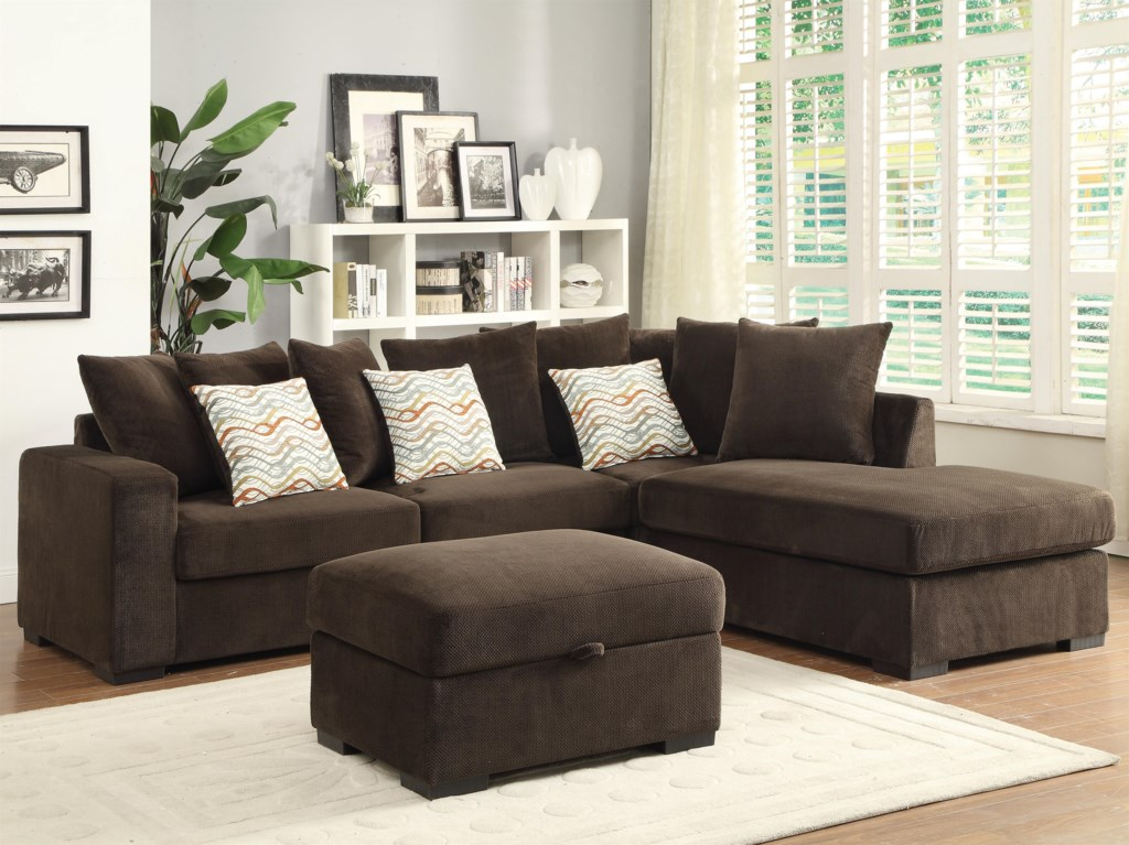 Coaster Olson Contemporary Reversible Sectional With Chaise  ~ Chocolate Sectional Sofa Set With Chaise