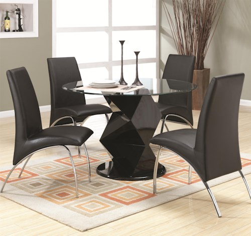 Coaster Ophelia Contemporary Five Piece Dining Set with Round Glass Top Table