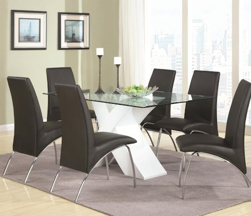 Coaster Ophelia Contemporary Seven Piece Dining Set with Glass Top X Table