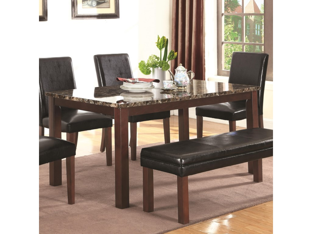 Coaster Otero Transitional Dining Table With Faux Stone Top
