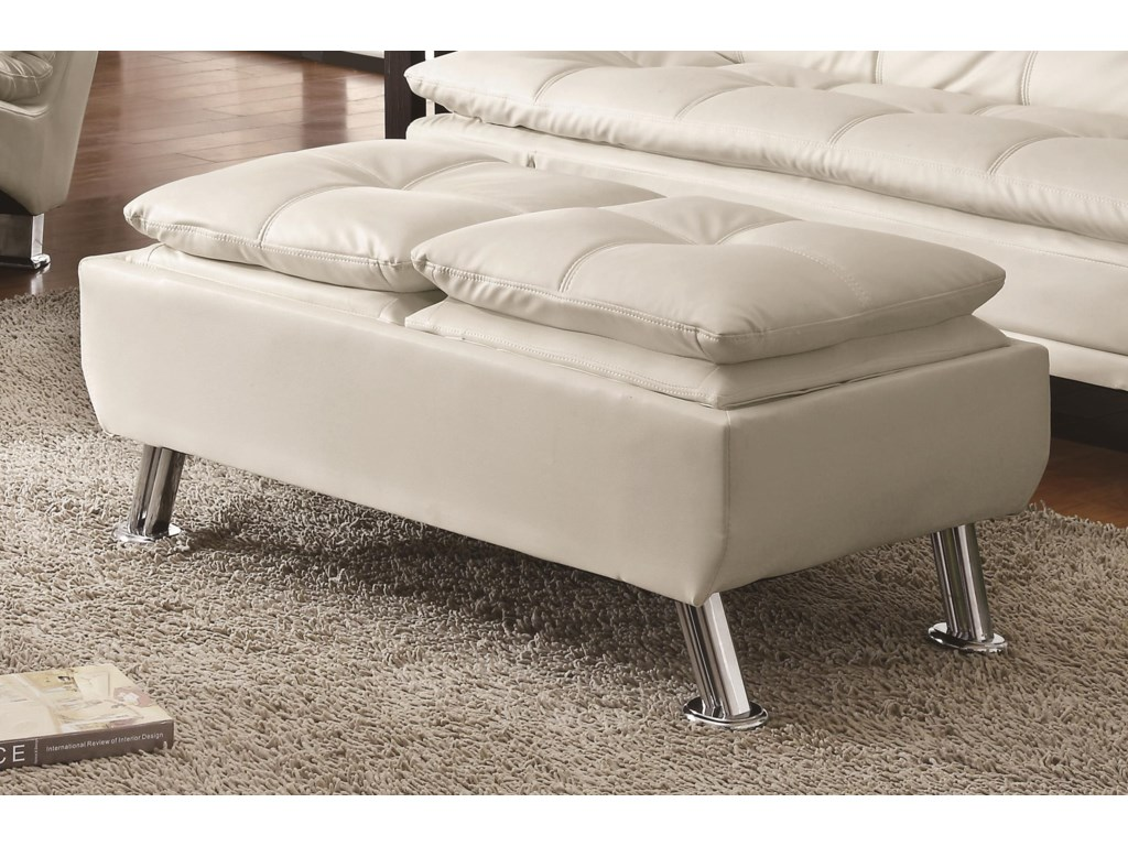 Coaster OttomansFaux Leather Ottoman w/ Reversible Tray Tops