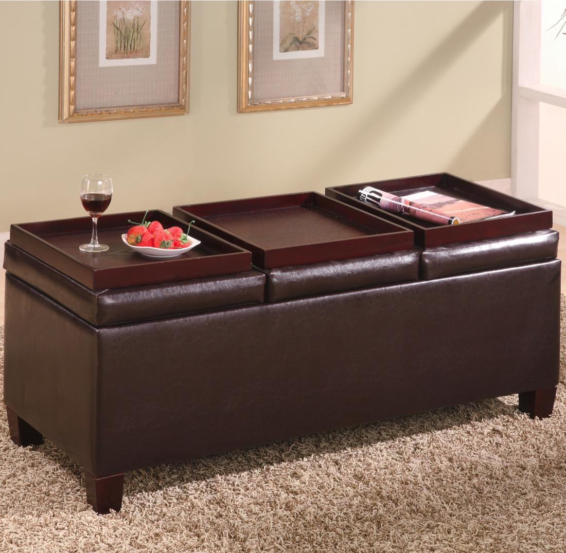 Superbe Coaster Ottomans Contemporary Faux Leather Storage Ottoman With Reversible  Trays