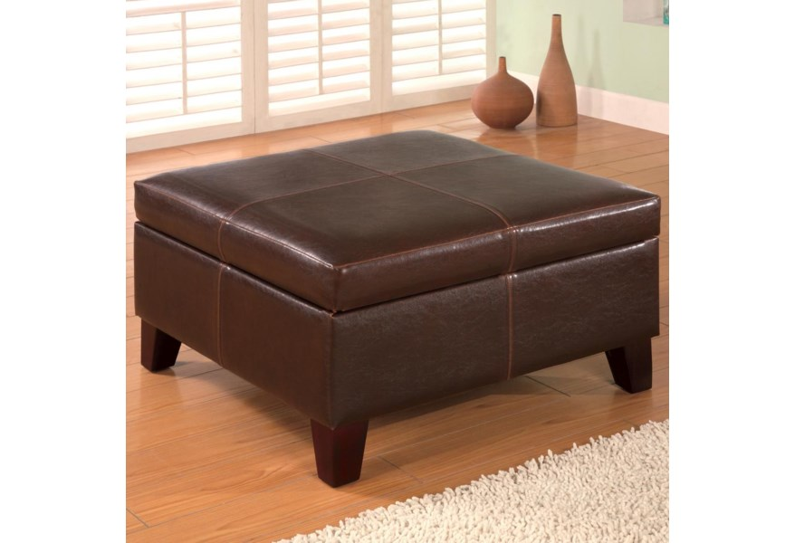 Square Faux Leather Storage Ottoman