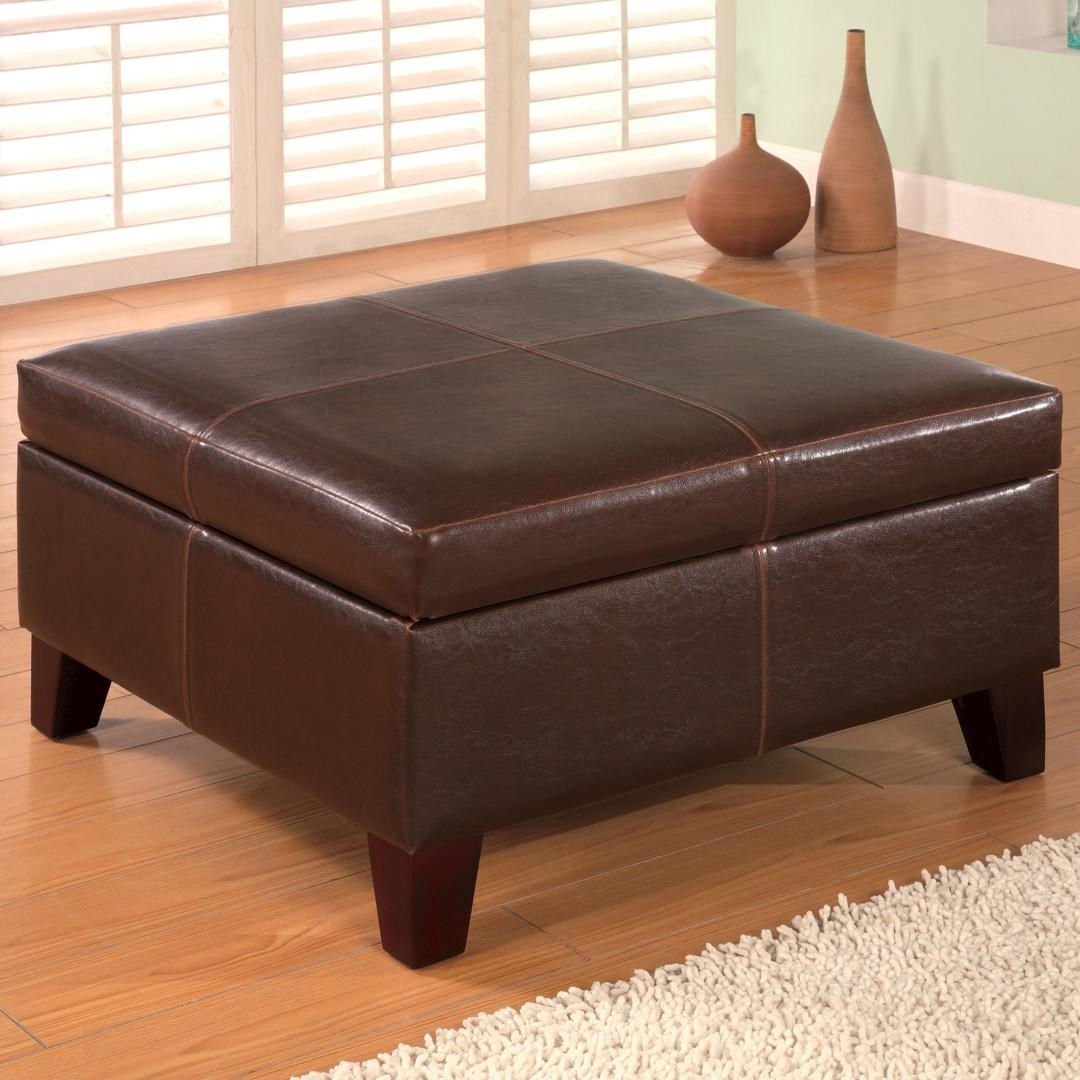 Charming Ottomans Contemporary Square Faux Leather Storage Ottoman By Coaster