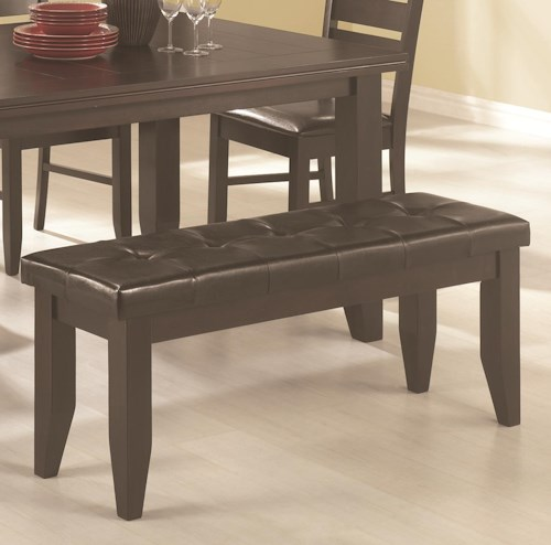 Coaster Page Contemporary Dining Bench with Tufted Upholstered Seat