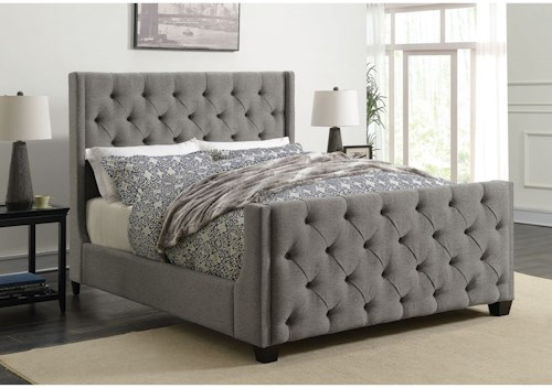 Coaster Palma Upholstered King Bed with Button Tufting