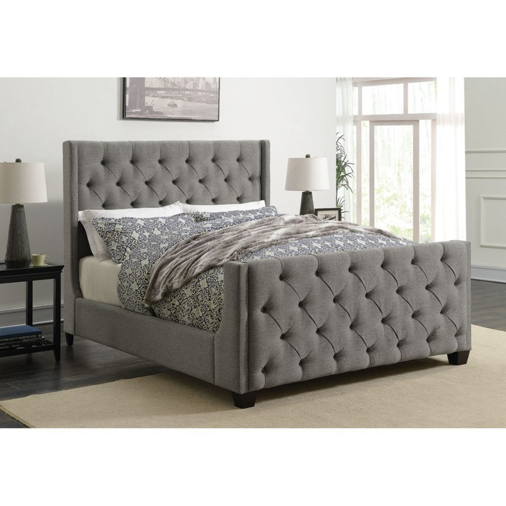 Coaster Palma 300708Q Upholstered Queen Bed with Button Tufting