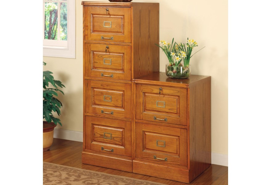 Oak File Cabinet With 4 Drawers