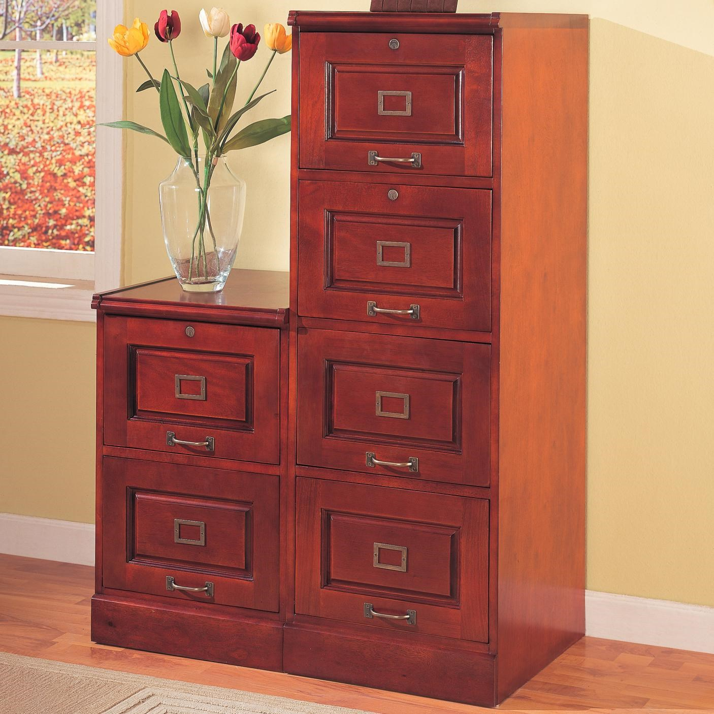 coaster palmetto 800314 cherry file cabinet with 4 drawers del sol rh delsolfurniture com Four Drawer Wood File Cabinet with Lock 2 Drawer Wood File Cabinet