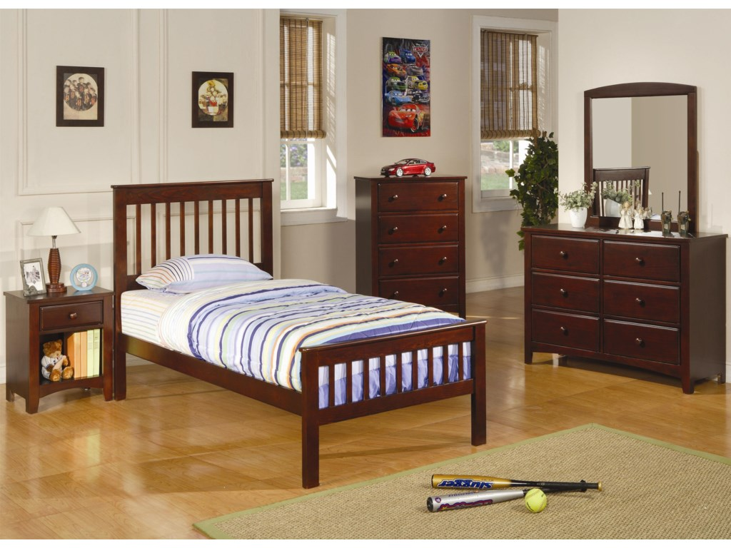 Shown in Room Setting with Bed, Chest, Dresser, and Mirror