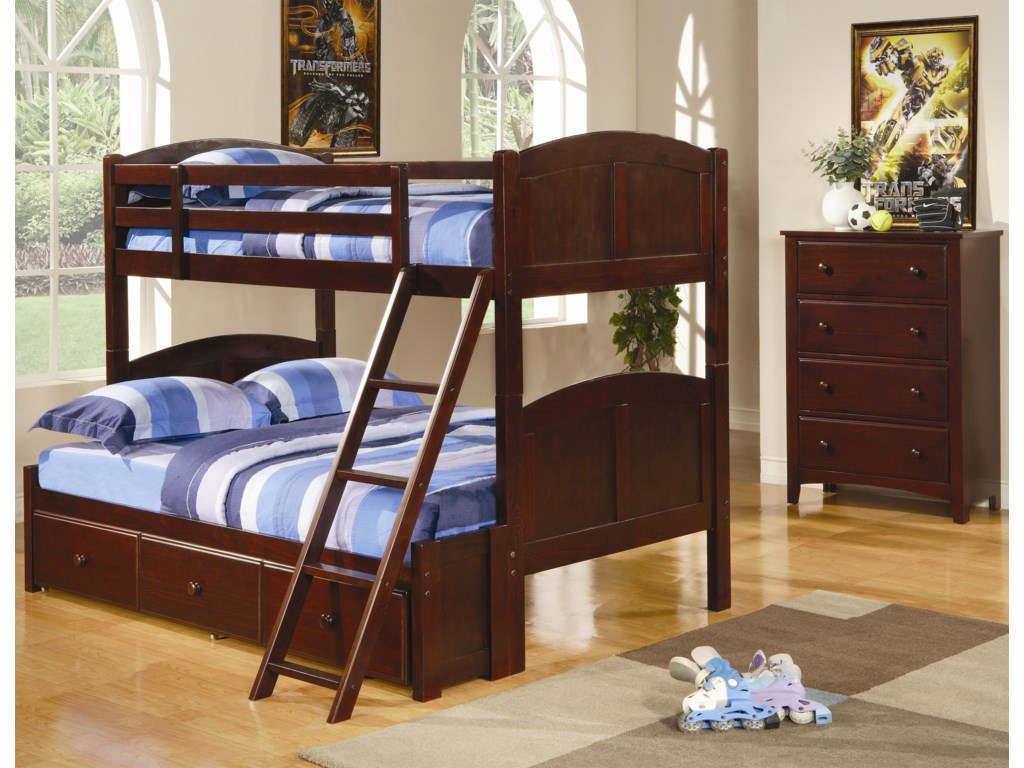 Shown in Room Setting with Bunk Bed with Storage