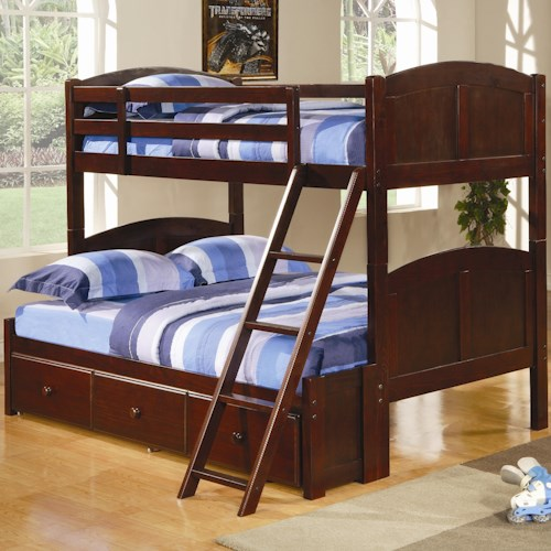 Coaster Parker Twin Over Full Panel Bunk Bed with Under Bed Storage Unit