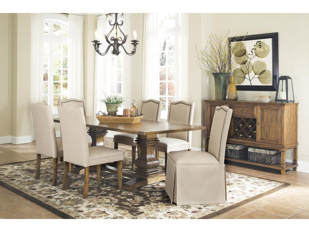 Parkins 7 Piece Dining Table And Chair Set With Parson Chairs W Skirt By Coaster At Knight Furniture Mattress