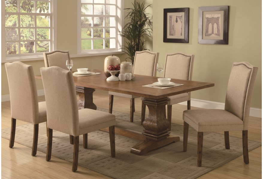 Parkins 7 Piece Dining Table And Parson Chair Set By Coaster At Northeast Factory Direct