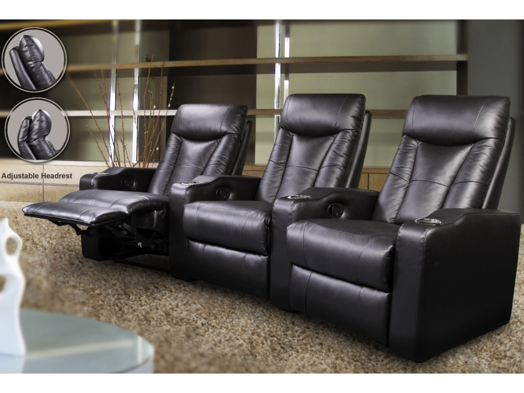 Pavillion Contemporary Leather Theater Seating by Coaster at Northeast  Factory Direct