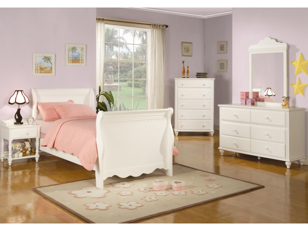 Sleigh Bed Shown in Room Setting with Nightstand, Chest, Dresser and Mirror
