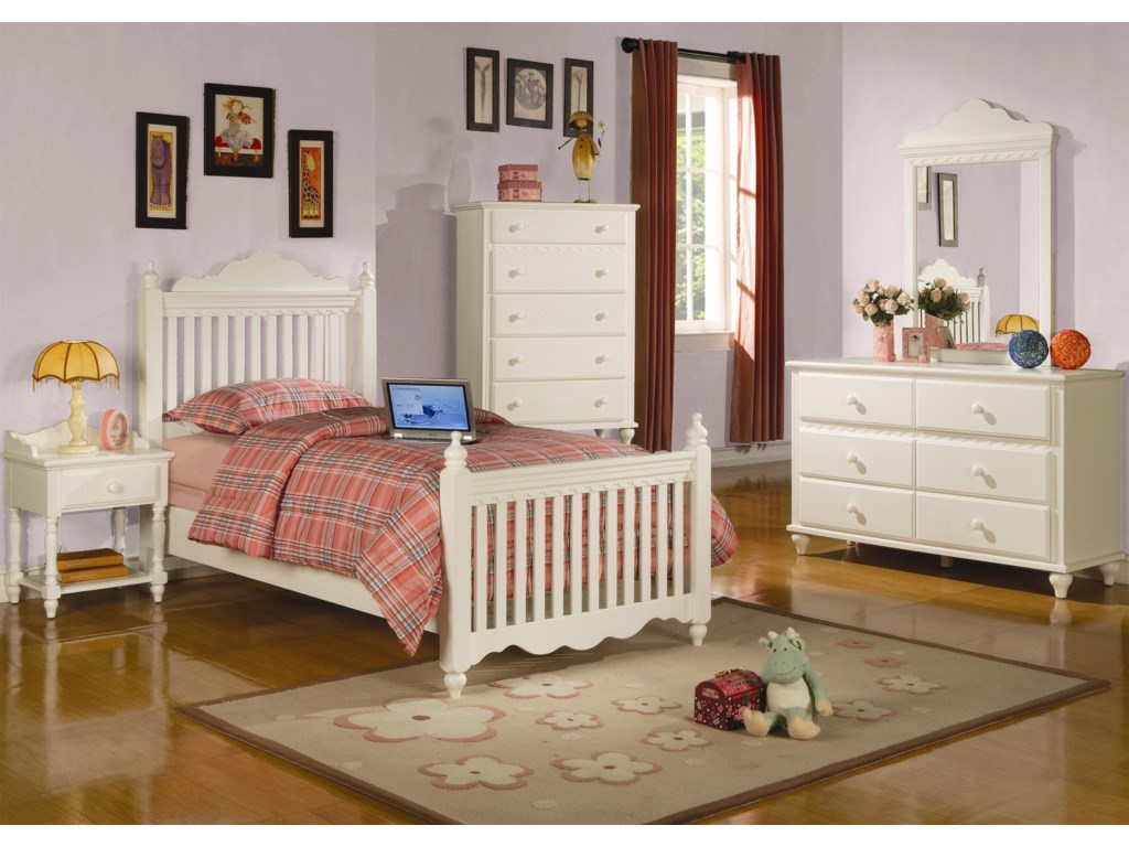 Dresser and Mirror Combination Shown in Room Setting with Nightstand, Bed and Chest