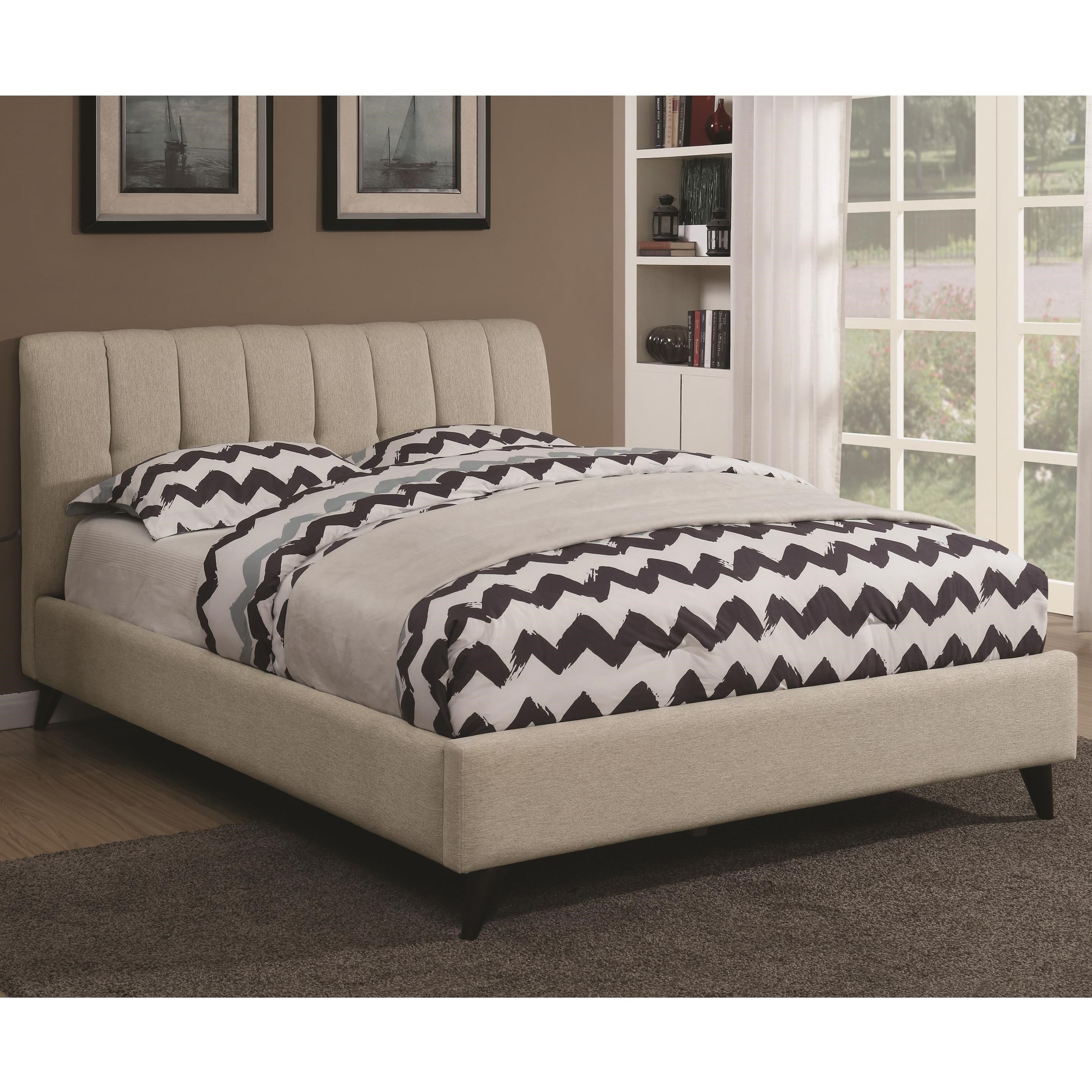Portola Mid Century Modern Upholstered King Bed By Coaster