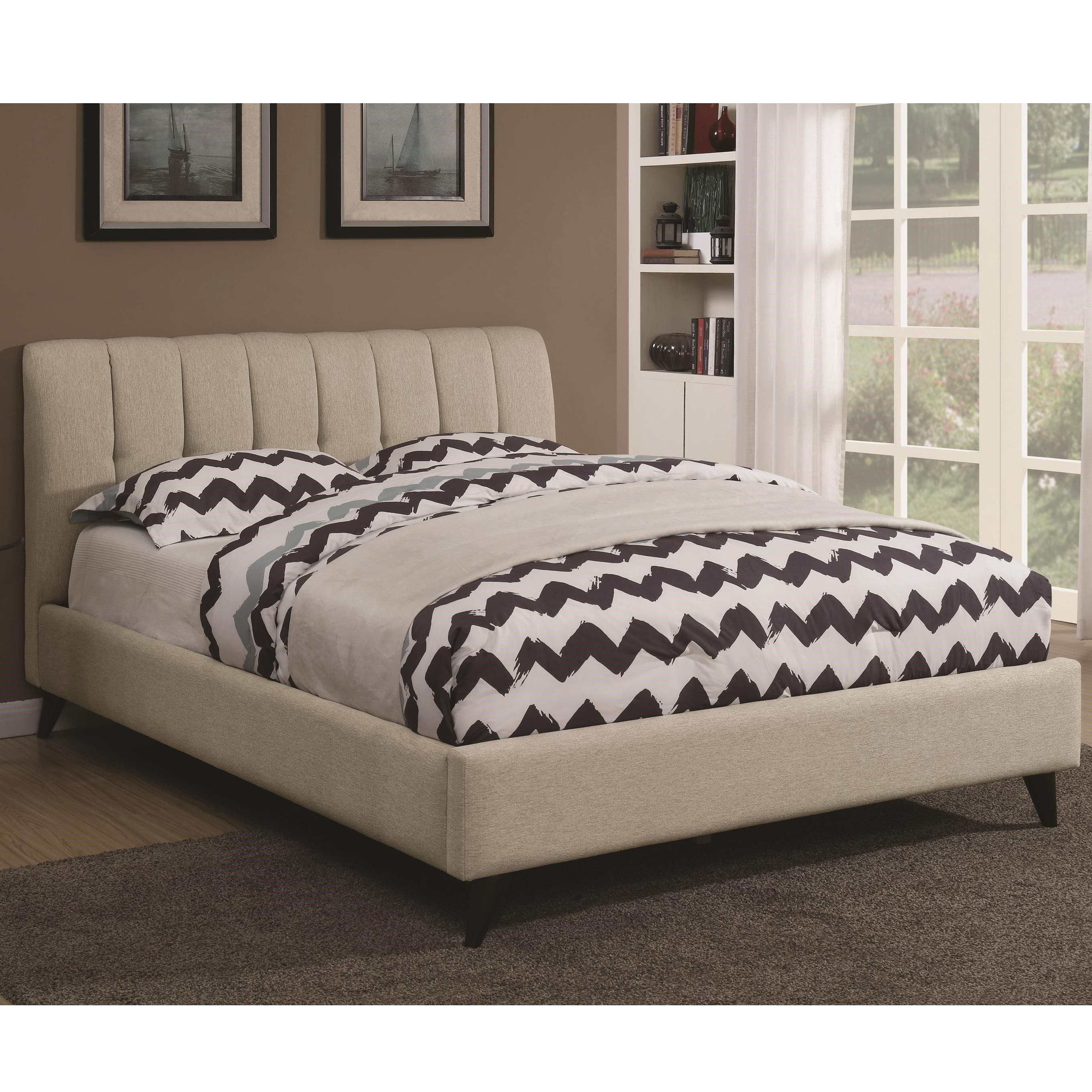 Modern upholstered bed Twin Portola Mid Century Modern Upholstered Queen Bed By Coaster Dunk Bright Furniture Coaster Portola 300754q Mid Century Modern Upholstered Queen Bed
