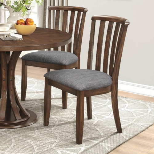Coaster Prescott Slat Back Dining Chair With Gray Fabric Upholstery