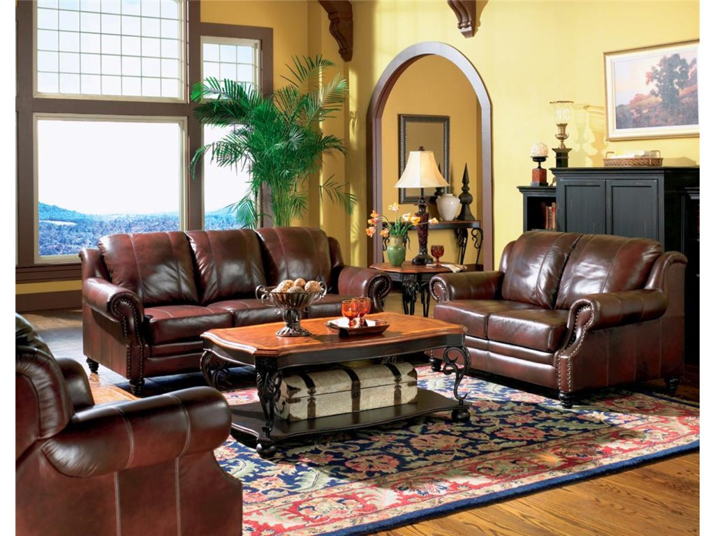 Shown in a Room Setting with Leather Love Seat