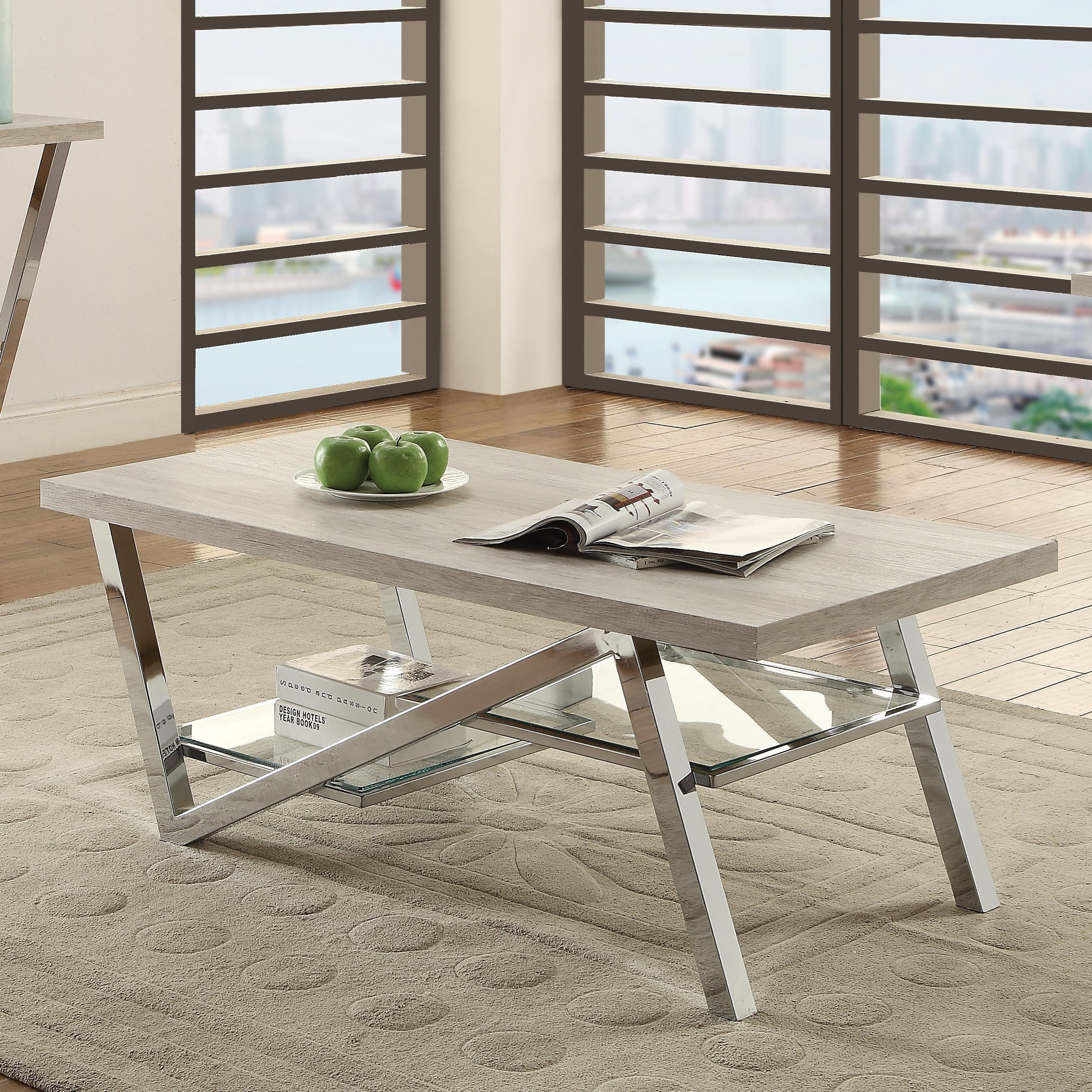 Coaster Quorra Contemporary Coffee Table With Chrome Legs