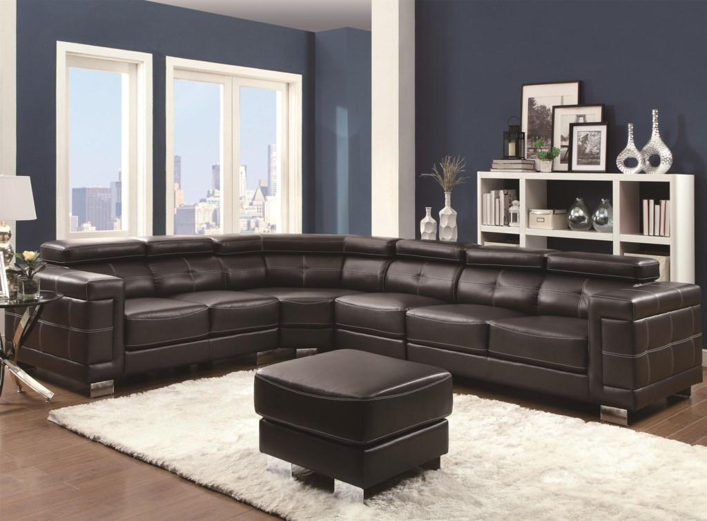 Coaster Ralston 503625 Contemporary Sectional Sofa With Metal Legs