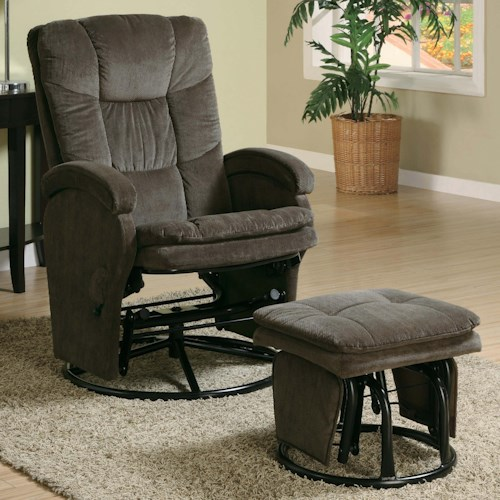 Coaster Recliners with Ottomans Casual Reclining Glider with Matching Ottoman